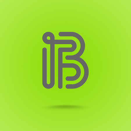 Vector Graphic Font Logo Element. Letter B on Green Background Çizim
