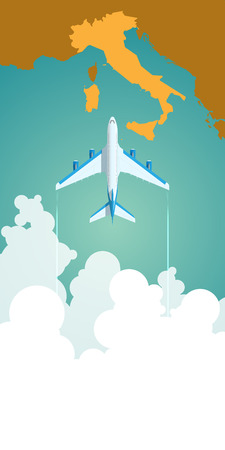 Airplane flying through clouds above the map of Italy. Vector Illustration