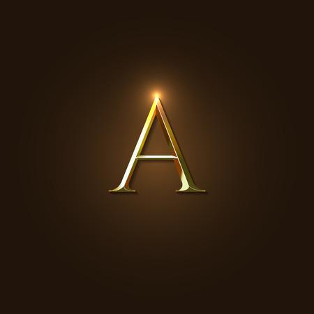 letras de oro: Ilustraci�n moderna elegante del vector de Oro Letra A Plantilla para insignia de la compa��a, el elemento de dise�o o de iconos.