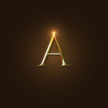 metal alphabet: Modern Elegant Vector Illustration of Gold Letter A Template for Company Logo, your Design Element, or Icon.