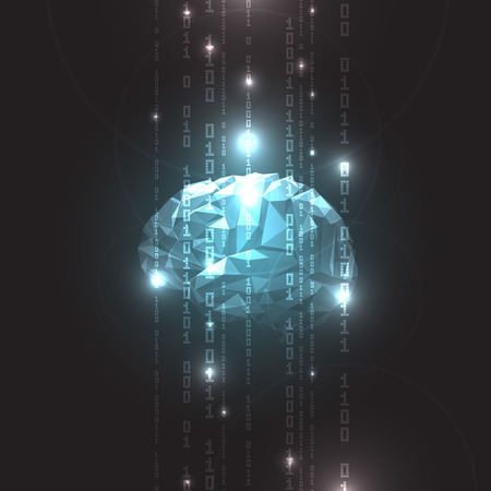 Concept of  Active Human Brain on a Dark Background.Vector Illustration Çizim
