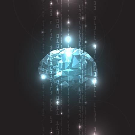 poligonos: Concepto del cerebro humano activo en una ilustración de oscuro Background.Vector