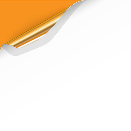 page corner curl: Gold Curled Corner with Orange Background. Vector Illustration Illustration