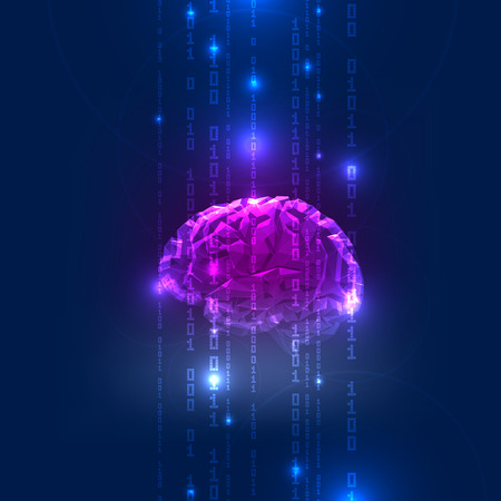 Abstract Activity of Human Brain with Binary Code Stream. Vector Illustration