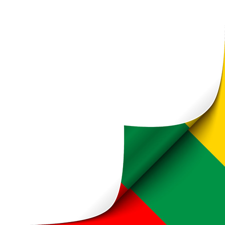 curled paper: Curled Paper Corner with Lithuania Flag Background. Vector Illustration.