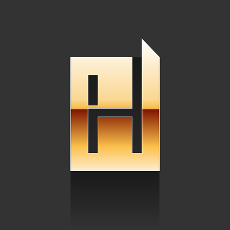 Vector Gold Letter H Shape Logo Element on Dark Background