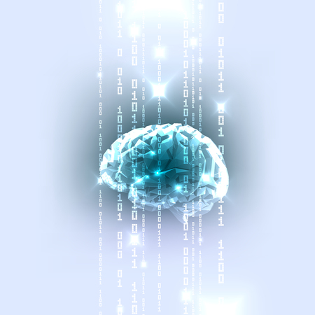 El concepto de cerebro humano activo con código binario corriente. Ilustración del vector.