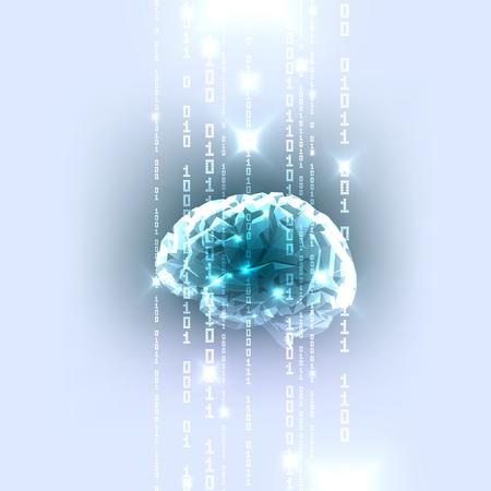 Le concept de Human Brain active avec code binaire Stream. Vector Illustration.