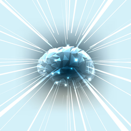 memory drugs: The Concept of Active Human Brain with Rays. Vector Illustration.