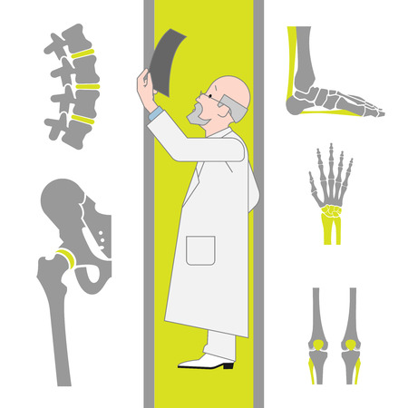 orthopedics: Set of Flat Icons Isolated on the White Background From Surgery and Orthopedics. Vector Illustration