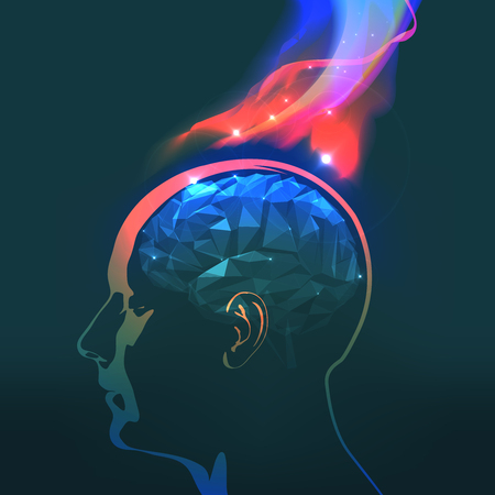 headaches: Abstract Vector Illustration of Headaches with Flames