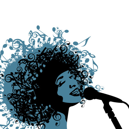 Head of Woman with Hair as Musical Symbols on a White Background. Vector Illustration