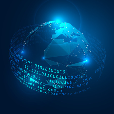 tecnologia: Triangoli astratti Pianeta Terra con l'anello di cifre binarie. Vettoriali