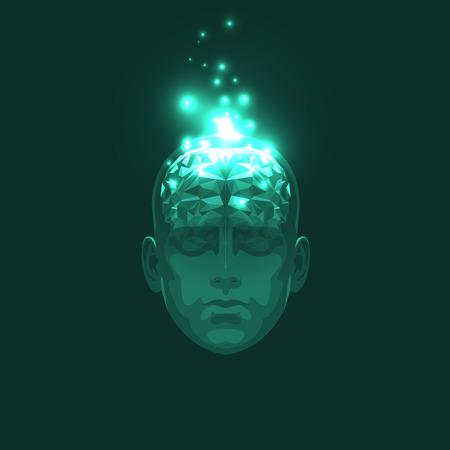 �illustration: Vista frontal del abstracta Cabeza humana con un cerebro. Ilustraci�n com�n del vector Vectores