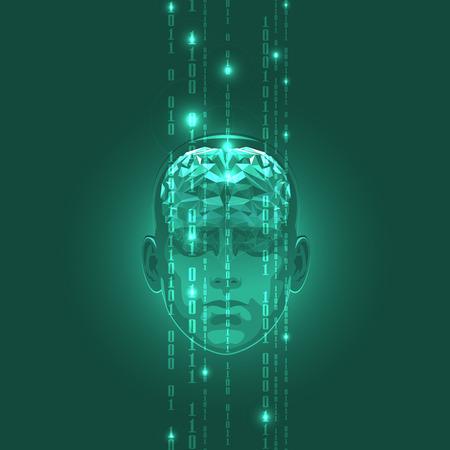 バイナリ コード ストリームをアクティブな人間の脳の概念。ベクトルの図。  イラスト・ベクター素材