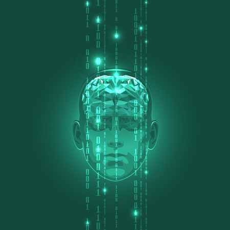 The Concept of Active Human Brain with Binary Code Stream. Vector Illustration.