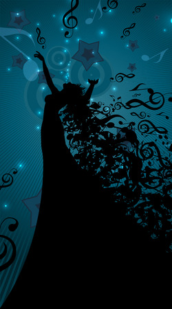famous actress: Silhouette of Opera Singer with Hair Like Musical Notes. Vector Illustration Illustration