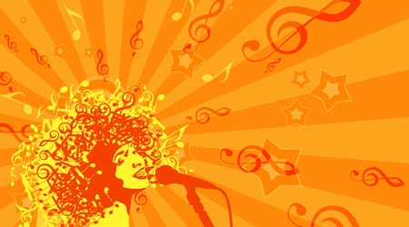 woman white background: Head of Woman with Hair as Musical Symbols on a White Background.