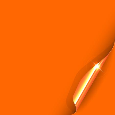orange color: Curled Orange Paper Corner with Gold Back Side.