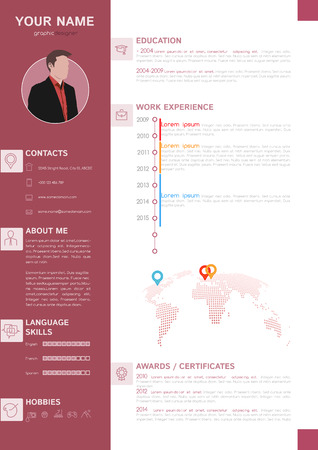 minimalist style: Vector Elegant Minimalist Style CV - Resume Template - Brown White Color Design Version Illustration