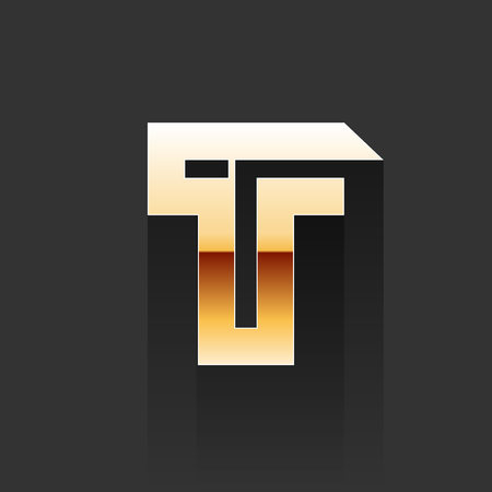 t background: Vector Gold Letter T Shape  Element on Dark Background Illustration