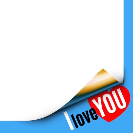 paper corner: Curled White Paper Corner on Blue Background with Message