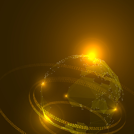 internet globe: Abstract Triangles Planet Earth with Ring of Binary Digits. Illustration