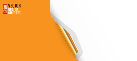 curled edges: Curled White Paper Corner with Golden Backside and Orange Background Illustration