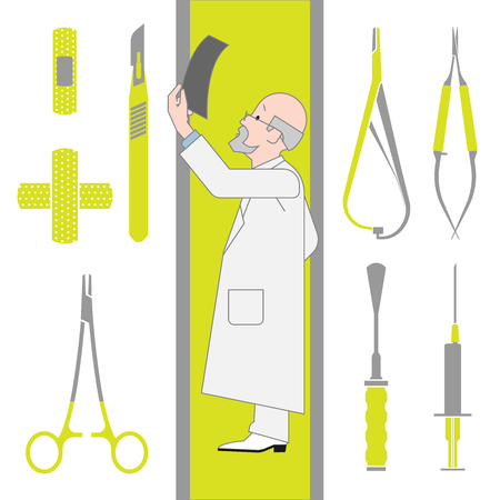 orthopedics: Set of Flat Icons Isolated on the White Background From Surgery and Orthopedics. Vector Illustration