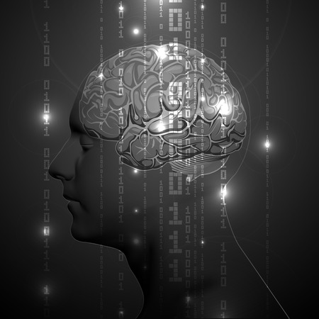 memory drugs: The Concept of Active Human Brain with Binary Code Stream. Vector Illustration.