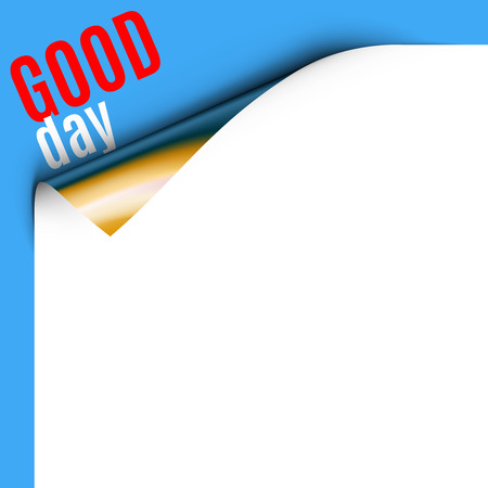 good day: Curled White Paper Corner on Blue Background with Message. Curled corner card with text sincerely wish good day