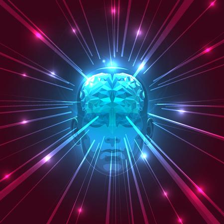 脳と抽象的な頭部の正面。ストック イラスト。三角形の抽象的な人間の脳。人間の脳の抽象的な概念。