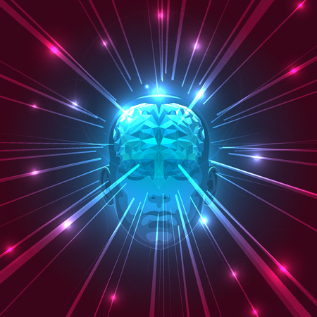 Front View of Abstract Human Head with Brain. Stock Illustration. Abstract Triangle Human Brain. Abstract Concept of Human Brain.