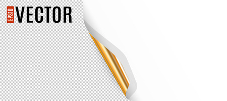 curled: Curled White Paper Corner with Golden Backside and Transparent Background Illustration