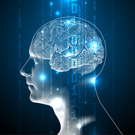 The Blue Concept of Active Human Brain with Binary Code Stream. Abstract Human Brain with Binary Digits. Vettoriali
