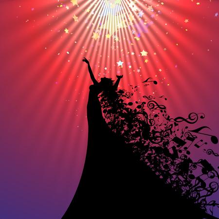 Silhouette der Oper Sänger mit Haaren wie Musical Notes. Vektor-Illustration. Opera Singer Silhouette mit abstrakten Hintergrund. Vektorgrafik