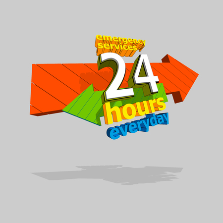 car care center: 24 hours service emergency everyday. Vector illustration.