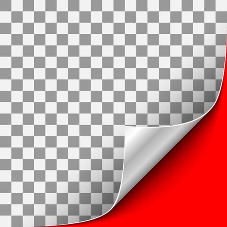 Gekrümmte transparente Papierecke mit silberner Rückseite und rotem Hintergrund. Vektor-Illustration