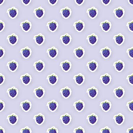 blackberries: Vector Seamless Pattern Background with Blackberries Illustration