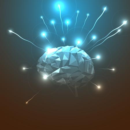 추상 인간의 두뇌의 측면보기입니다. 주식 벡터 일러스트 레이 션. 추상 삼각형 인간의 두뇌입니다. 인간의 두뇌의 추상 개념입니다.
