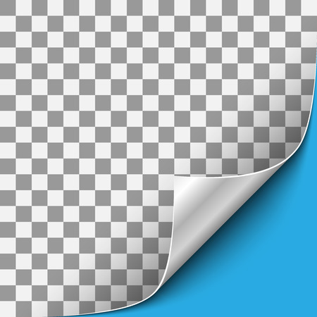 Curled Transparent Paper Corner with Silver Back Side and Blue Background. Vector Illustration