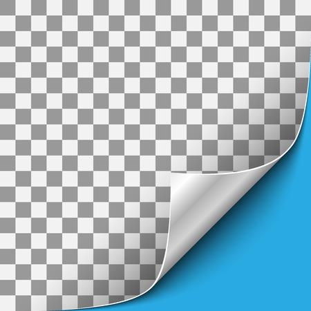 Gekrulde transparante papierhoek met zilveren achterkant en blauwe achtergrond. Vector illustratie