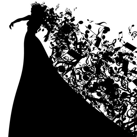 performers: Silhouette of Opera Singer with Hair Like Musical Notes. Vector Illustration. Opera Singer Silhouette on White Background.