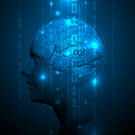 ip: The Blue Concept of Active Human Brain with Binary Code Stream. Abstract Human Brain with Binary Digits. Vector Illustration. Illustration