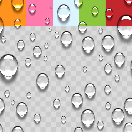 Water Transparent Drops Seamless Pattern Background with Color Samples. Vector Illustration