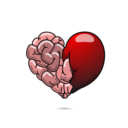 Vector illustration of heart and brain symbolizes love and wisdom. Love and wisdom