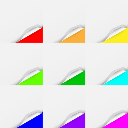curled: Set of Curled Colorful Paper Square Sheets with Realistic Shadows. Illustration