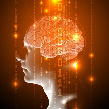 バイナリ コード ストリームをアクティブな人間の脳の青いコンセプトカー。バイナリの数字で抽象的な人間の脳。ベクトルの図。
