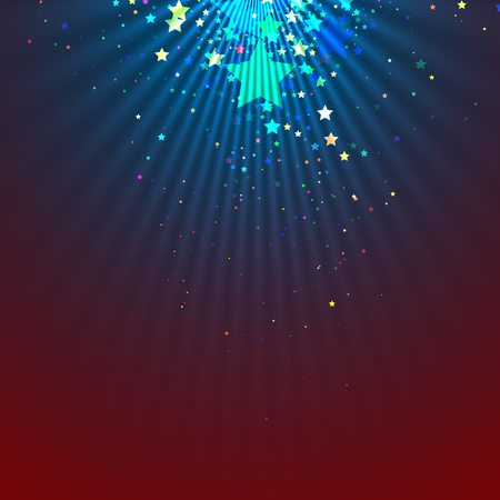 night club interior: Spotlight abstract background with falling stars. Vector illustration