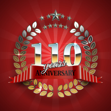 text background: Celebrative Golden Badge for 110th Anniversary with Red Ribbon
